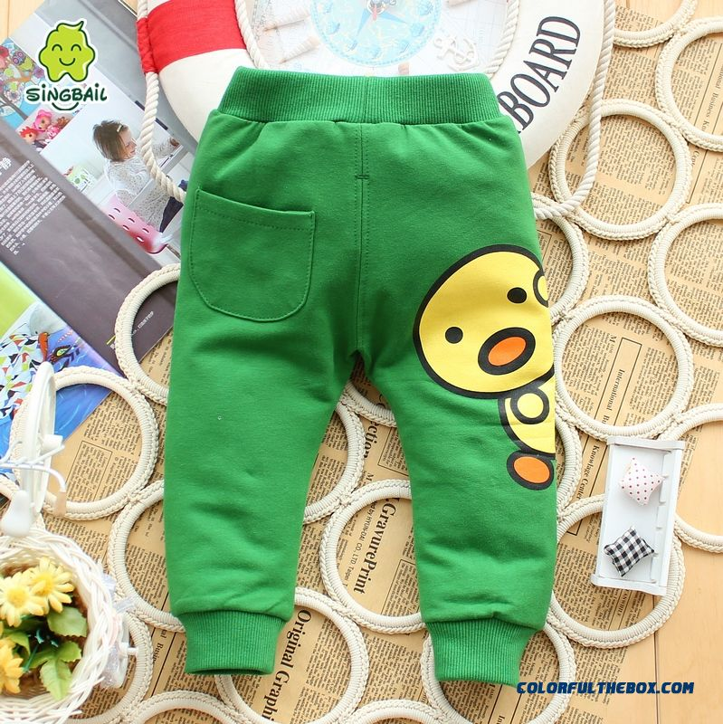 Singbail Spring Baby Boys And Girls Casual Sports Cartoon Back Pocket Pants Knit Kids Pants