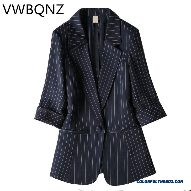 Single Buckle Striped Women Blazer Spring Seven-quarter Sleeve Jackets Female Suits Coat Slim Work Feminino Outerwear Plus Size
