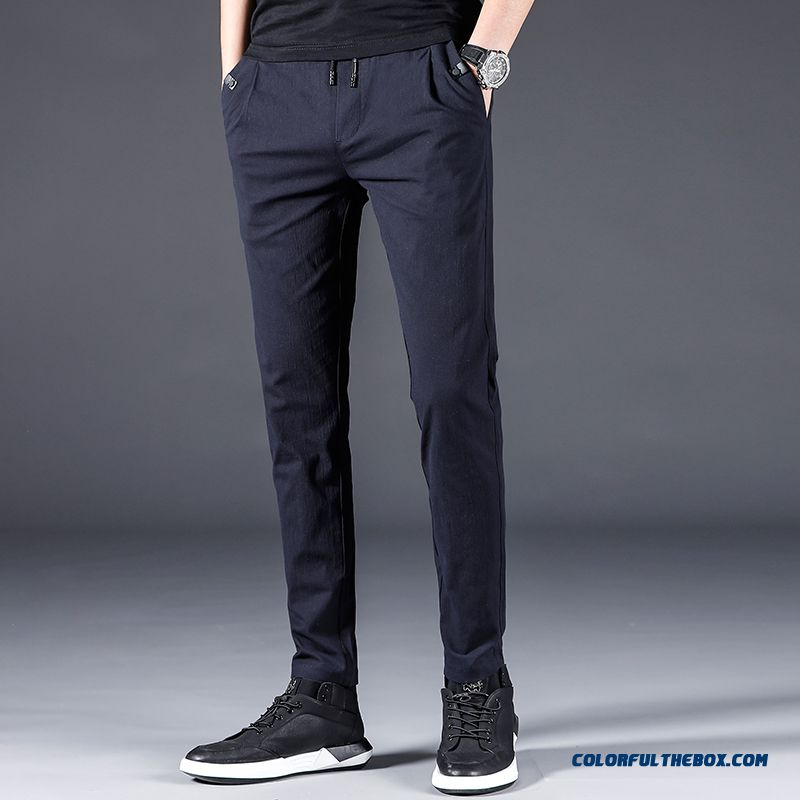 Skinny Europe Trend Pants Elasticity All-match Slim Men's Straight Leisure Loose Trousers Summer Blue