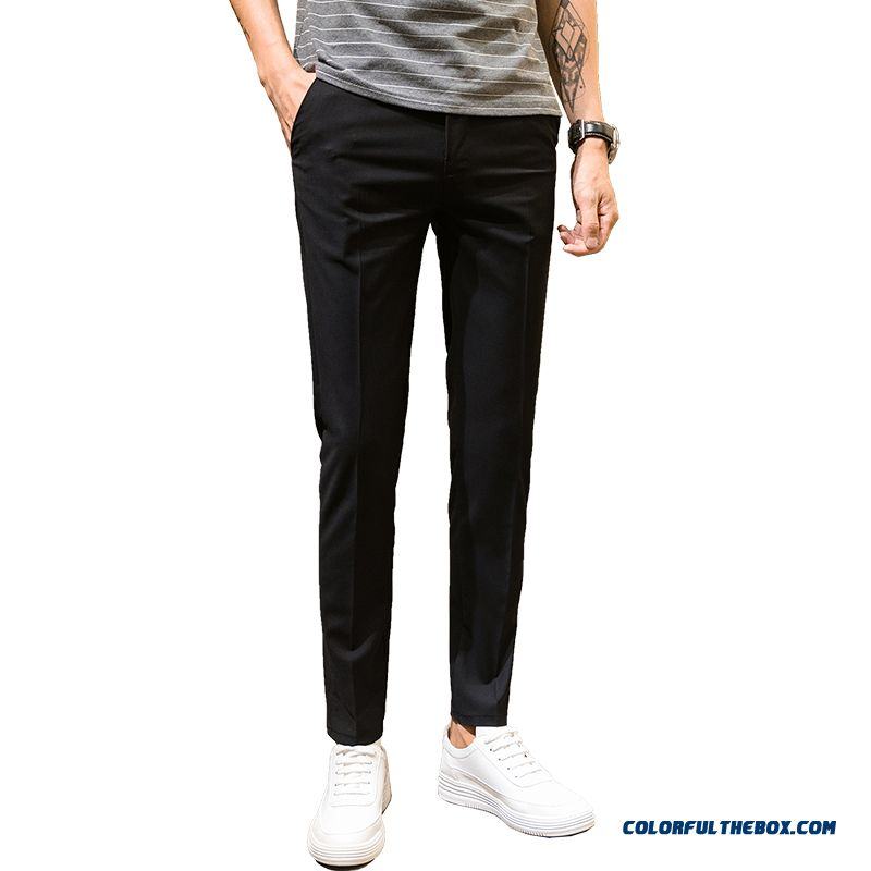Skinny Summer Europe Leisure 2019 Slim Black Loose Straight Pants Men's Trend