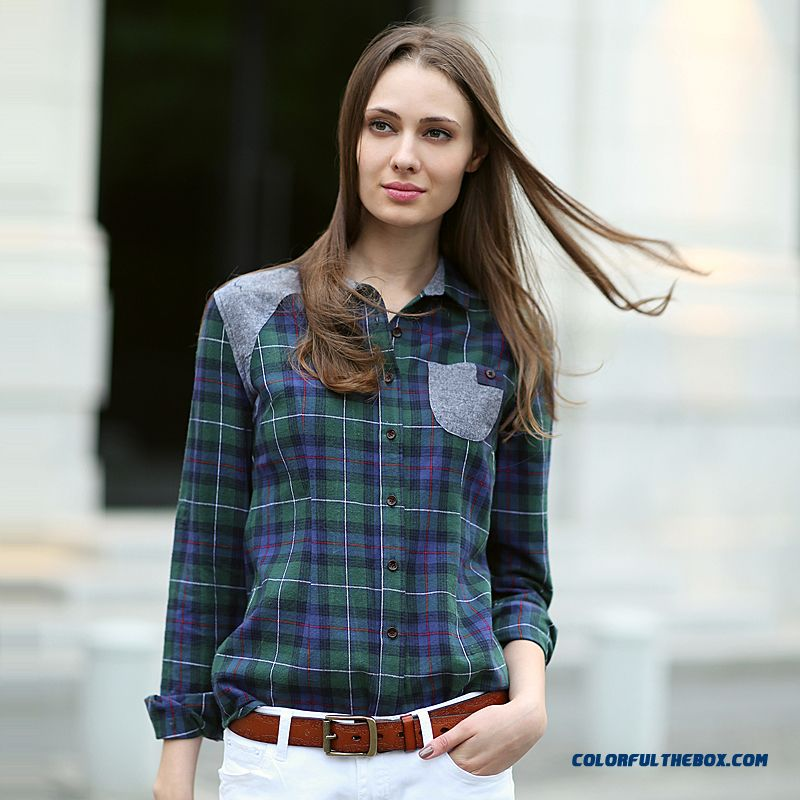 Slim All-match Long-sleeve Plaid Shirt Shirt Pocket Stitching Women Blouses Red-green Blue-green Lattice