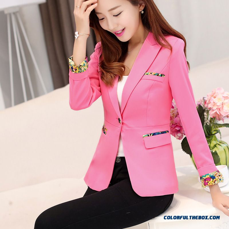 Slim Candy Color Small Suit One Buckle Upper Outerwear Women Coats