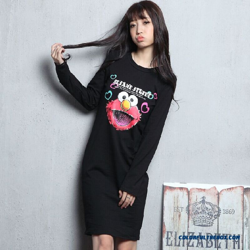 Slim Cartoon Printed Blouses Medium-long Bottoming Shirt Women Long-sleeved T-shirt Dress