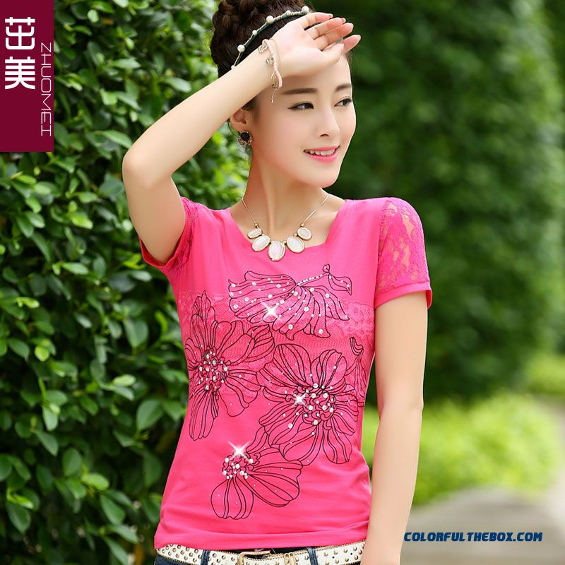 Slim Comfortable Short-sleeved T-shirt Women Crew Neck National Printing Large Size