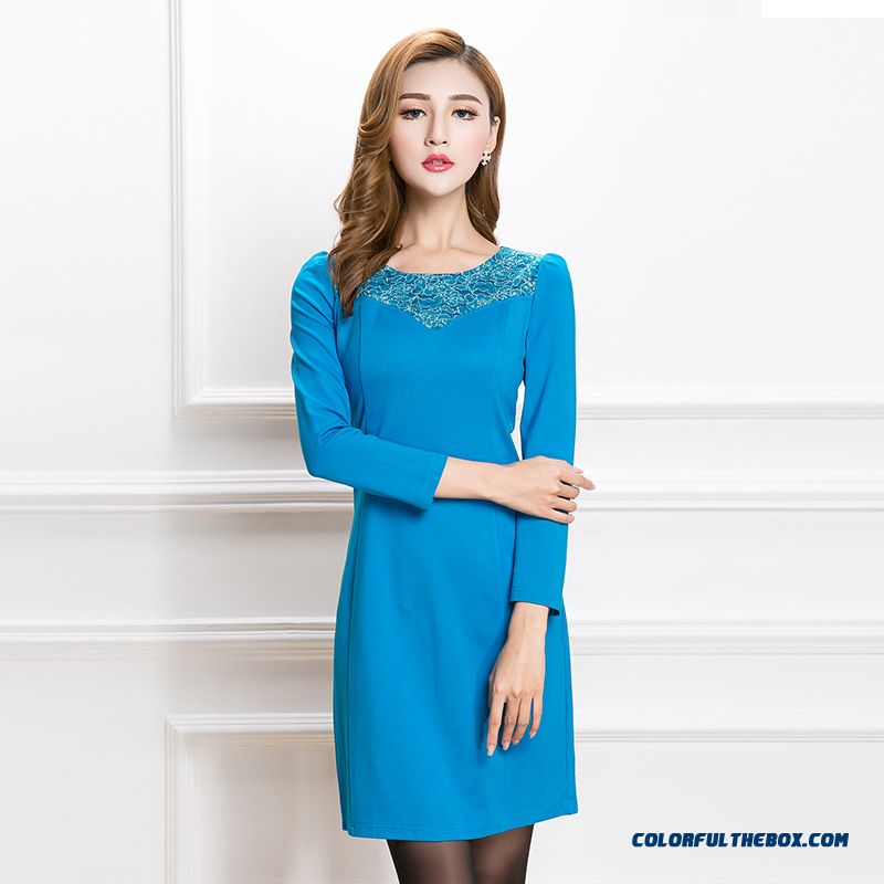 Slim Fashion Crew Neck Long-sleeved Dress Women Stitching Lace Dress Blue