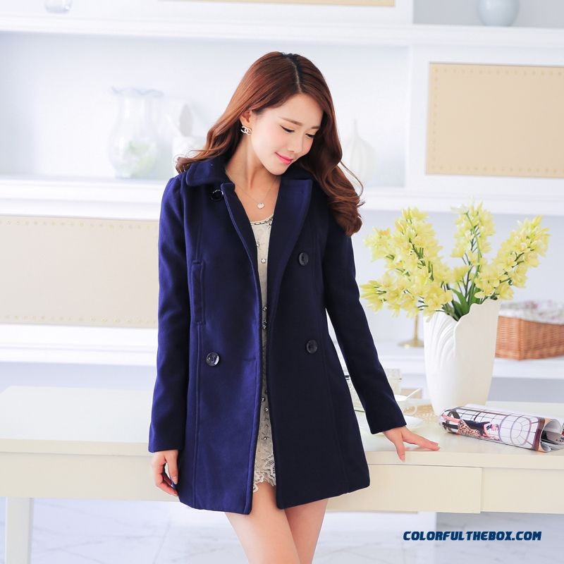 Slim Girls Long Section Of Double-breasted Woolen Coat Soid Color For Women