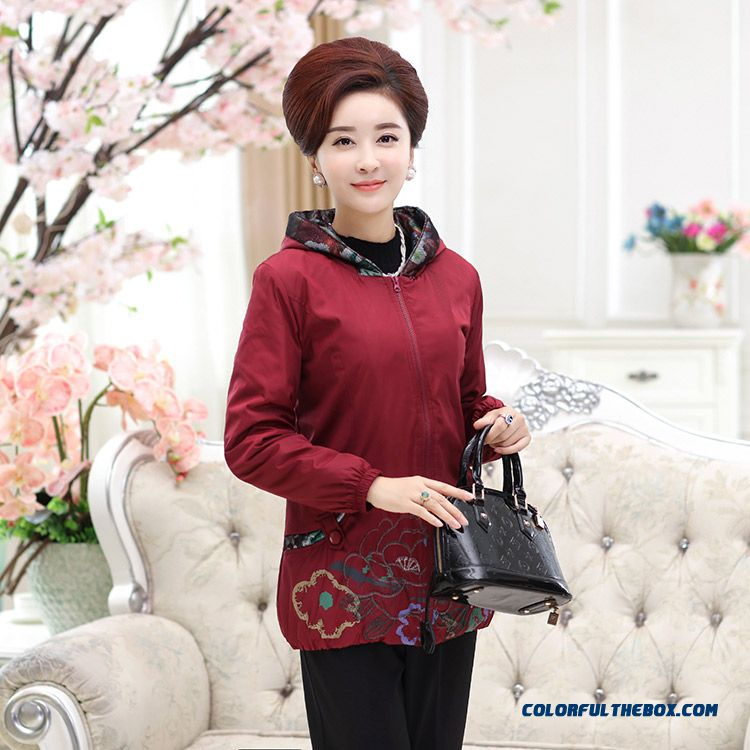 Slim Hooded Coat 50-60 Years Old Woman Padded Jacket Rose Red Green Deep Red