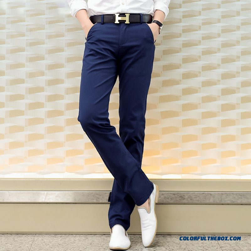 Slim Korean Vertion Casual Slim Straight Blue Pants Newly Designed