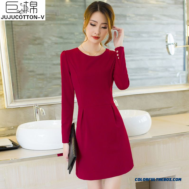 Slim New Women's Dress Winter Large Size Plus Thick Velvet Long-sleeved
