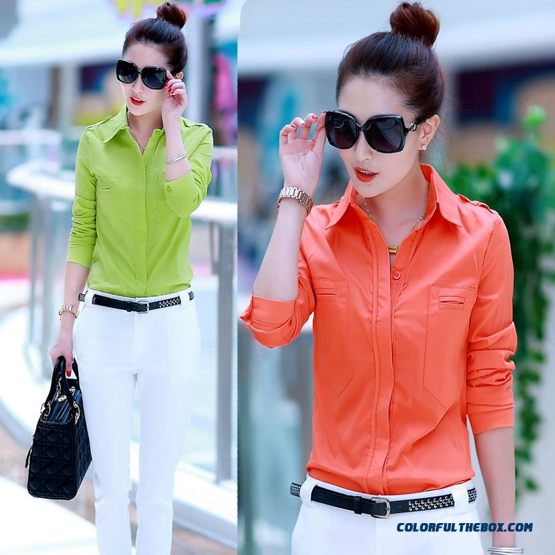 Slim Ol Temperament Ladies Business Attire Slim And Thin Cotton Shirt Colours 5 Kinds Of Color Avaliable Women Blouse