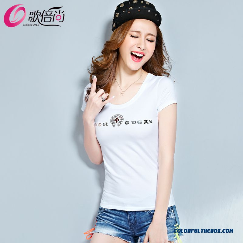 Slim Sequined Letters Section Women Summer T-shirt Cotton Tide Short-sleeved