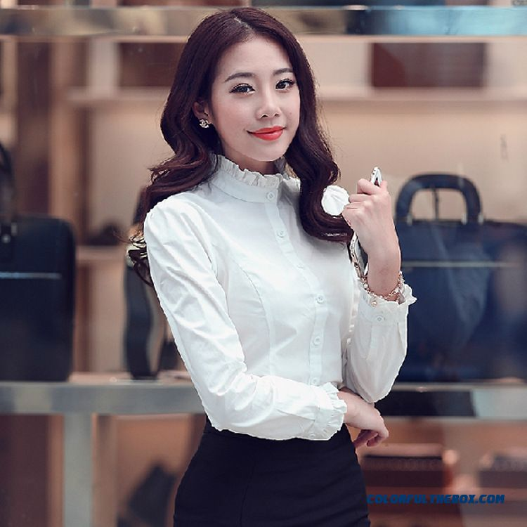 Slim Standing Collar Cotton Long-sleeved White Shirt Shirt Flounced Fashion Designed Specifically For Women