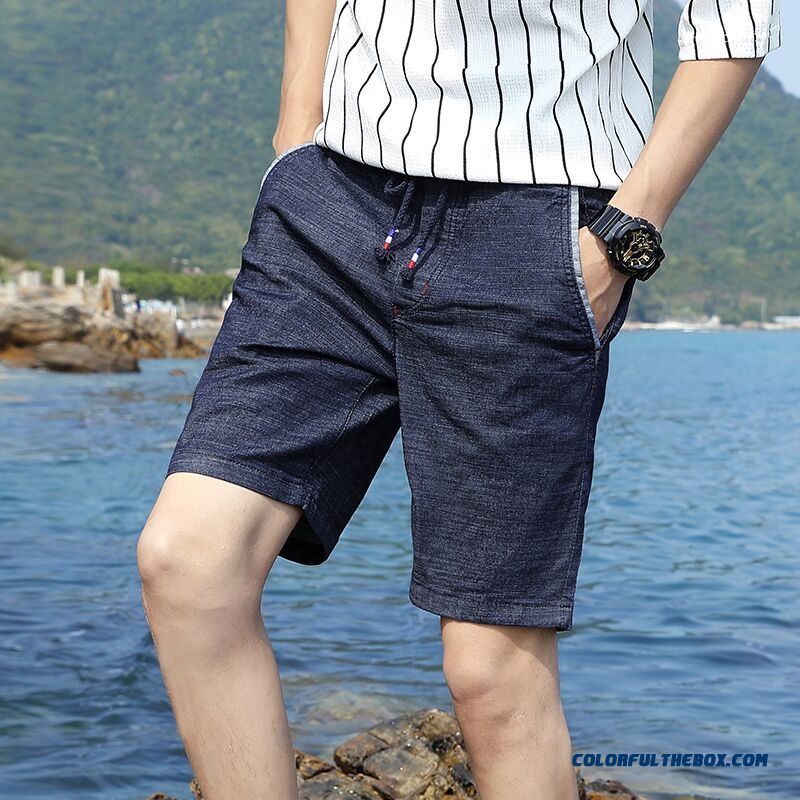 Slim Straight Elastic Tether Men's Trend Summer Pants Skinny Short Pants
