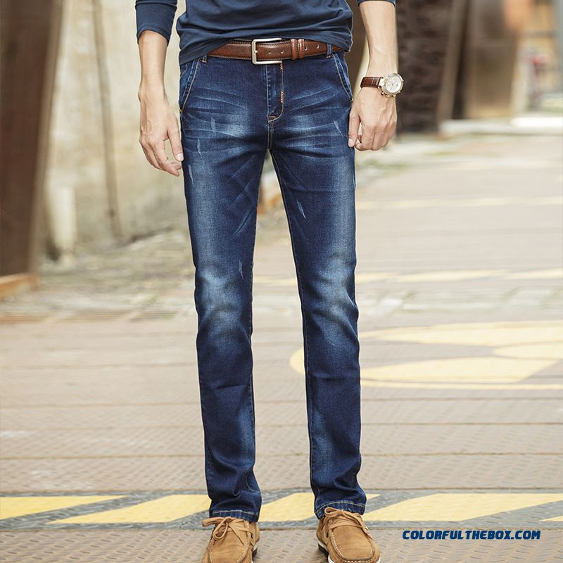 Slim Straight Trousers Autumn Slightly Elastic Large Size Men Jeans