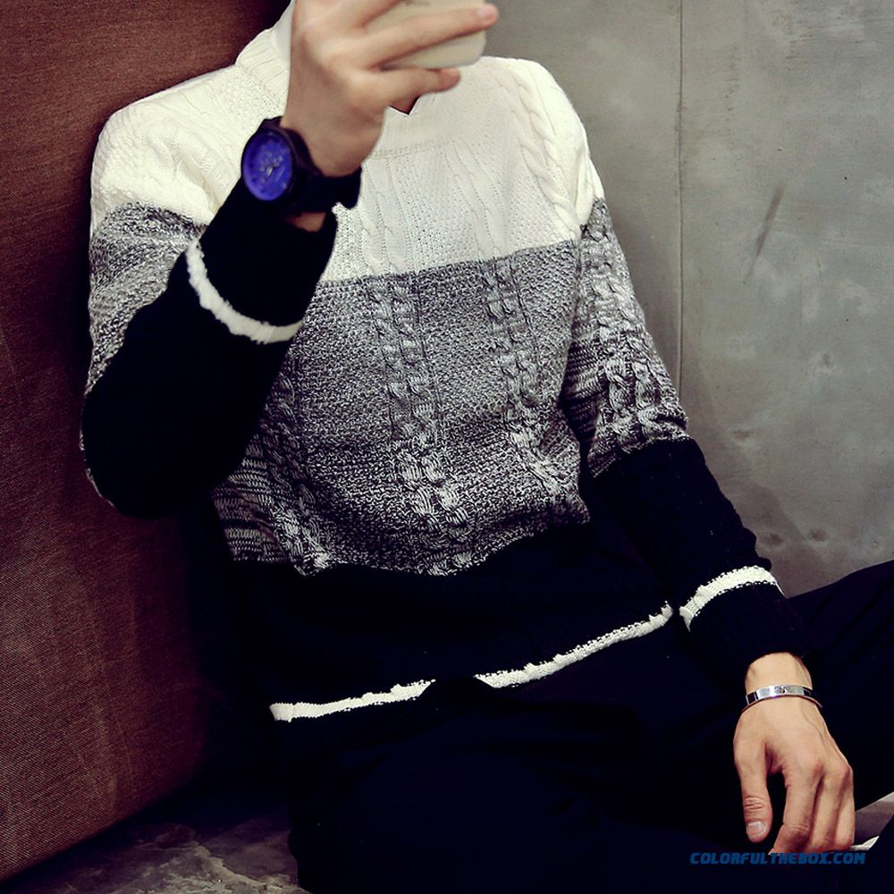 Slim Thick Winter New Men's Round Neck Pullover Jacquard Weave Sweaters