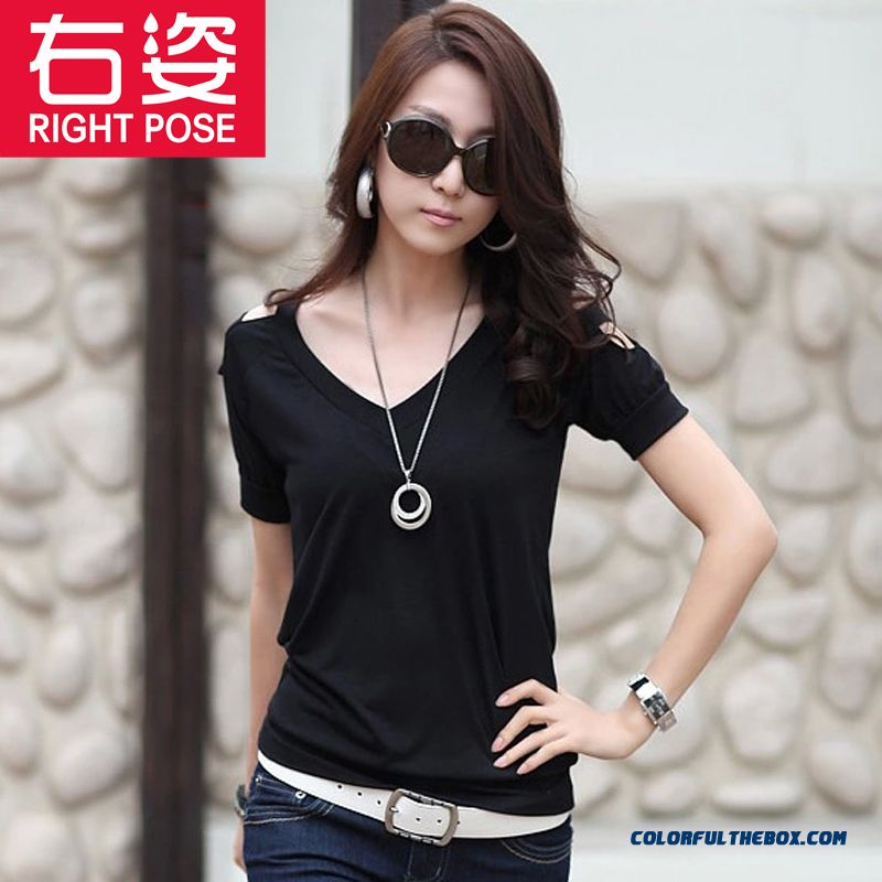 Cheap Slim V Neck T Shirt Women Summer Tight White Solid