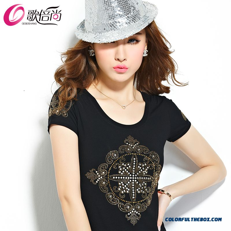 Slim With Diamonds Personality Large Size Women T-shirt Women Large Size