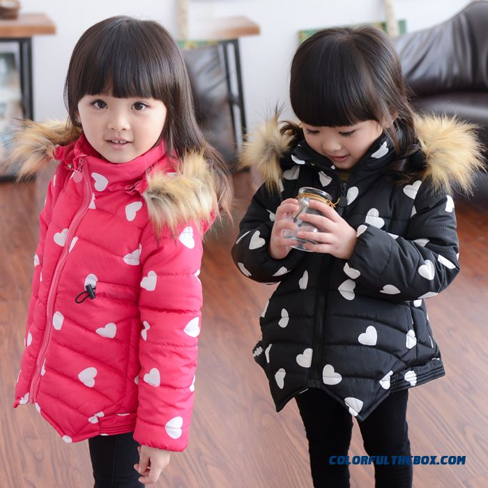 Small Kids Clothing Love Girls Coat Plus Thick Velvet Jacket White Black