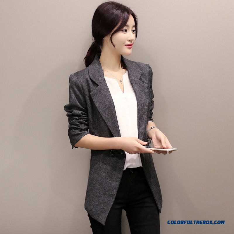 3cf6f575700 ... Small Suit Jacket Women Korean Style Slim Lady Plus Size Casual Coats -  more images 3 ...