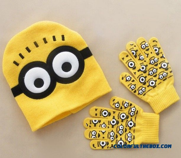 Small Yellow Doll Hat Mittens Two-piece Knitting Autumn And Winter Despicable Me Cartoon Pictures My Humble Mode Kids Boy's Accessories