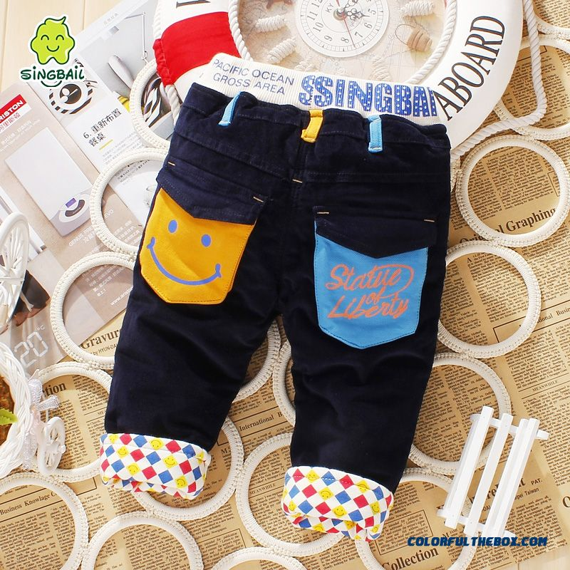 Smiling Pocket Winter Baby Plus Velet Long Pants Specially Designed For Boys