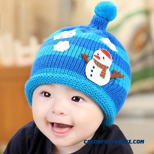Snowman Color Stripes Infants And Young Children Ear Cap Fall And Winter Baby Knitting Wool Girls Cap