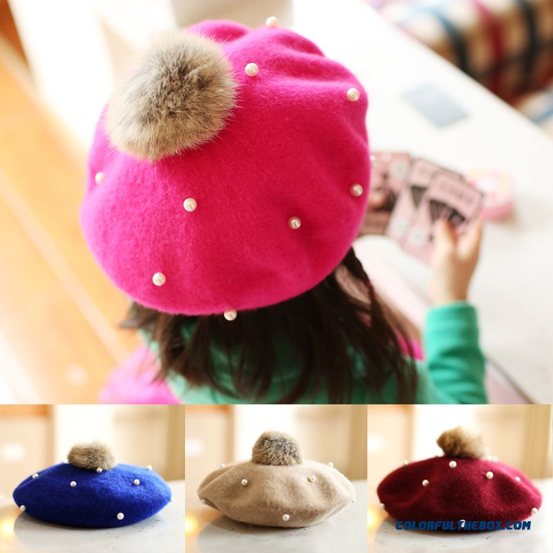 So Warm! Kids Beret Knitted Woolen Hat Knitted Department For Girls Free Shipping