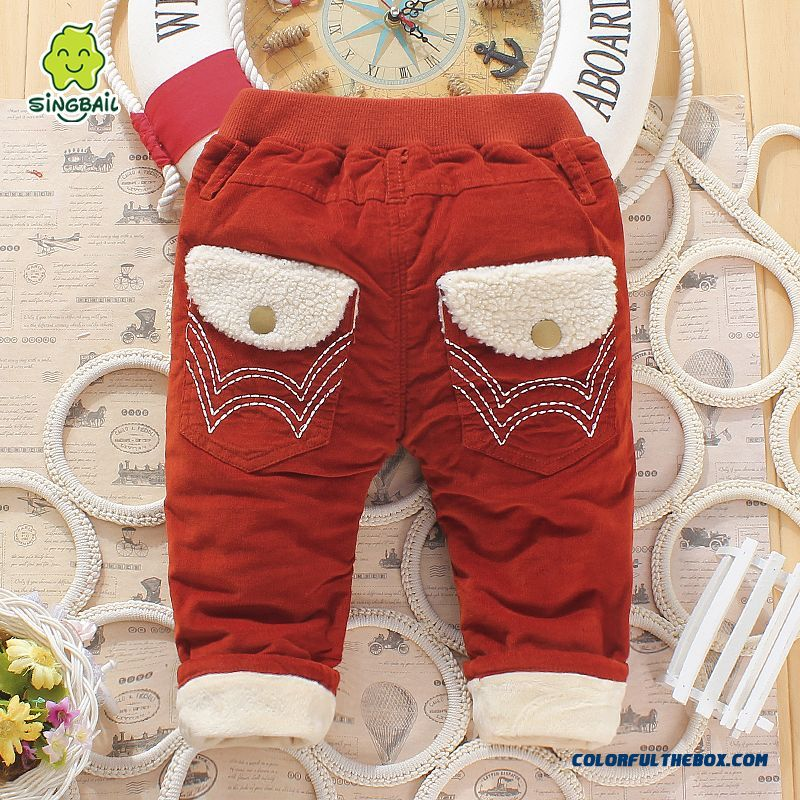 So Warm! Winter Baby Plus Velvet Boys And Girls Long Pants 0-1-2-3 Year-old Kids