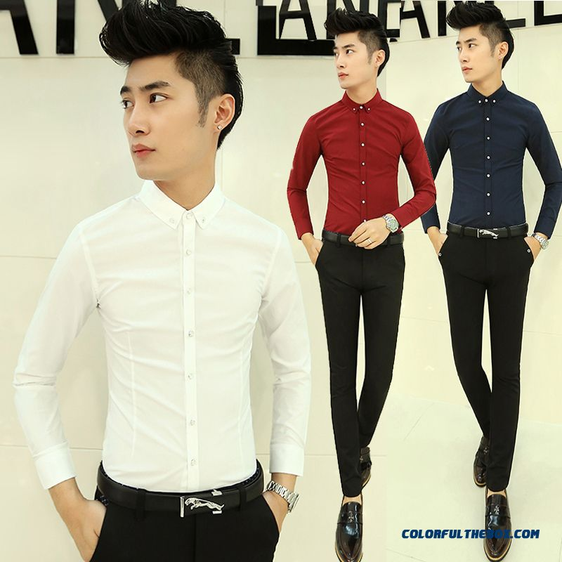 Solid Color Long-sleeved Shirt Autumn England Style Men's Business Casual Shirt Slim Youth