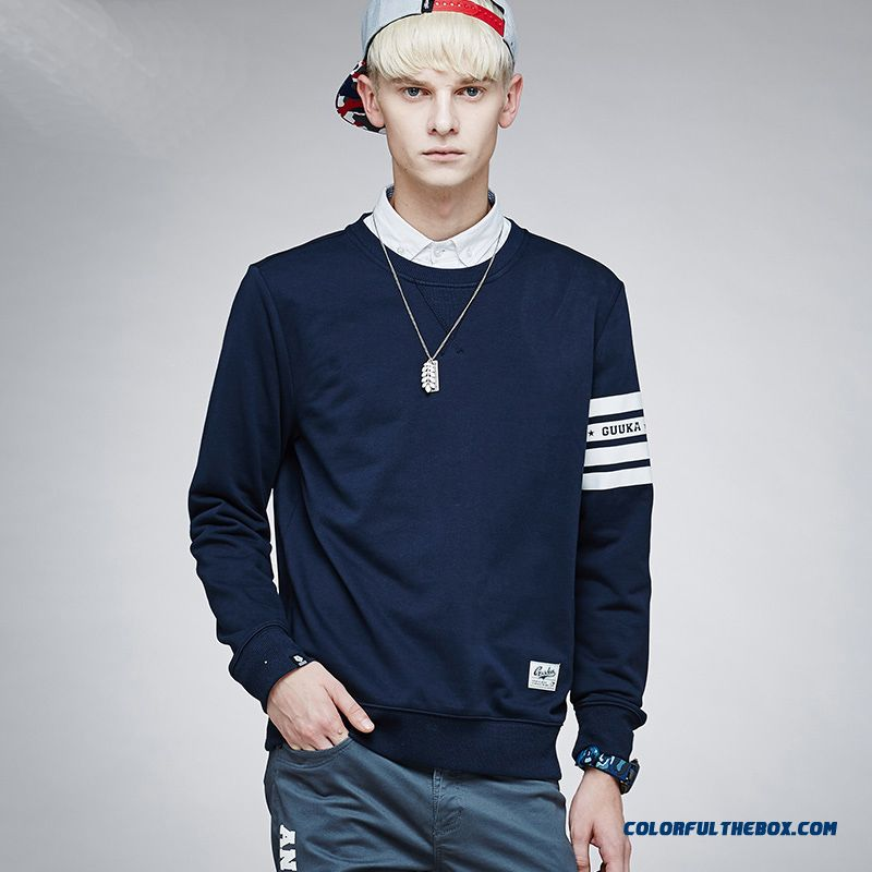 Solid Color Round Neck Sweatshirts Men's Clothing Autumn Long-sleeved Fashion