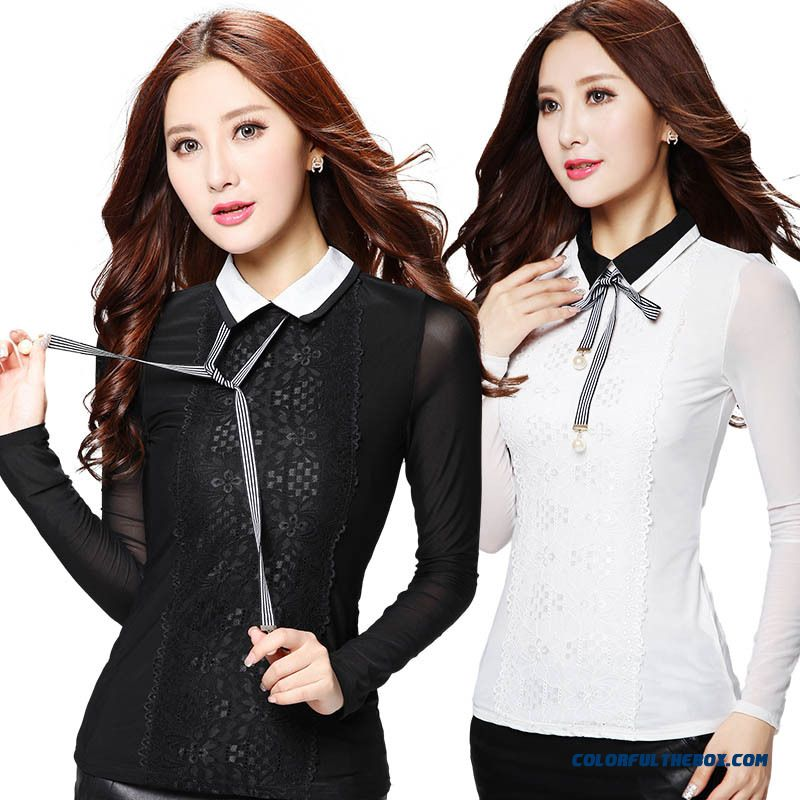 Special Clearance Doll Collar Blouses Sexy Lace Embroidery Thin Women Long-sleeved T-shirt Black White