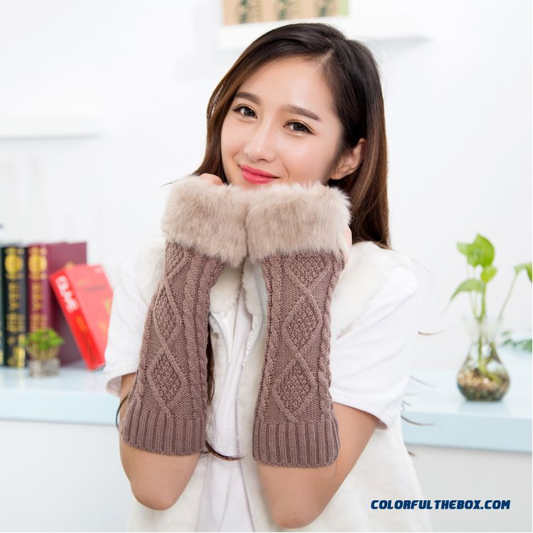 Special Clearance Free Shipping New Winter Long Kinted Girl Young Women Mittens & Gloves - more images 1