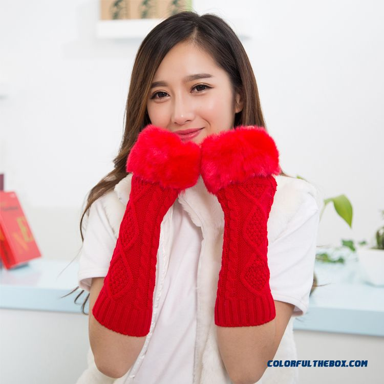 Special Clearance Free Shipping New Winter Long Kinted Girl Young Women Mittens & Gloves - more images 2