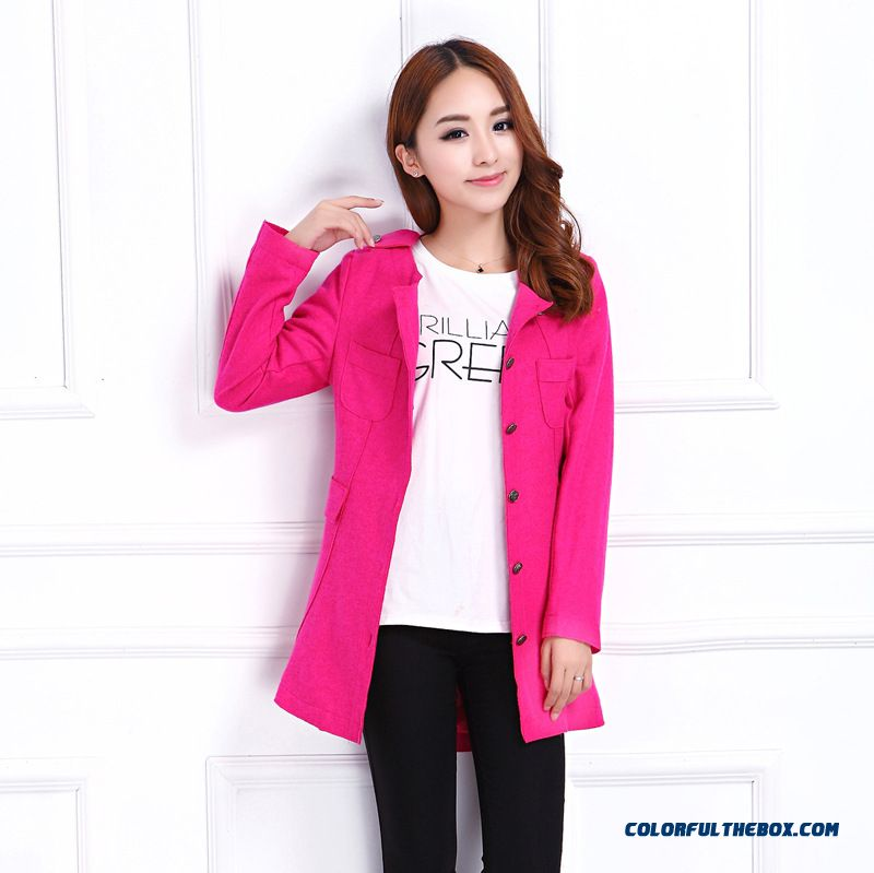 Special Clearance Free Shipping Slim Shaped Waist Medium-long Woolen Jacket Coat Women - more images 1