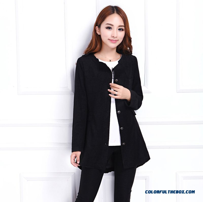 Special Clearance Free Shipping Slim Shaped Waist Medium-long Woolen Jacket Coat Women - more images 3