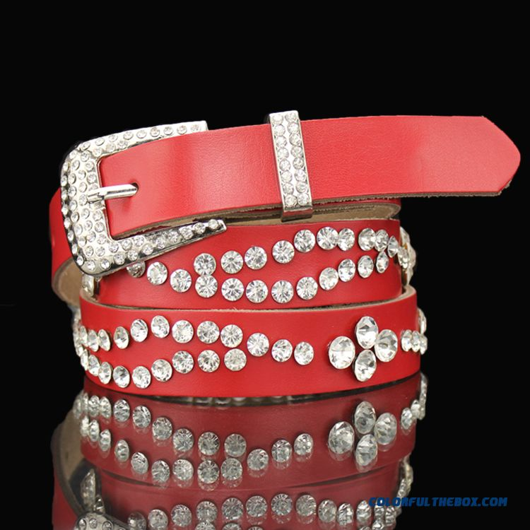 Special Clearance Free Shipping Women's Accessories Ladies Favorite Fashion Jeans Cummerbunds Rhinestone White Diamond Thin Leather Belt