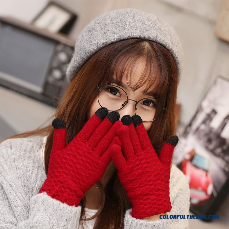 Special Clearance Free Shipping Women's Accessories Touch Screen Plush Mittens Lovely Warm Thick Gloves