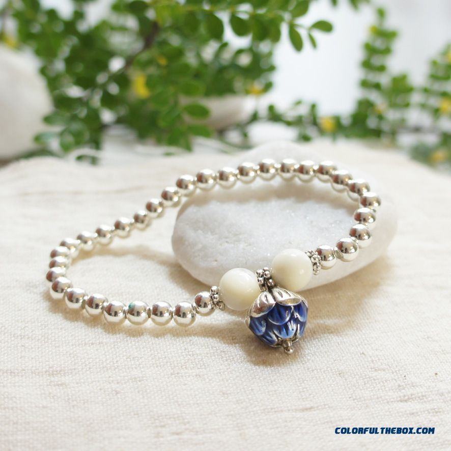 Special For Women Blue Lotus & White Shell & Silver-plated Copper Bracelets Bangles Jewelry