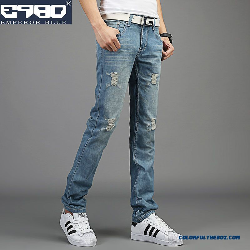 Special Offer Autumn Broken Hole Slim Straight Jeans For Men