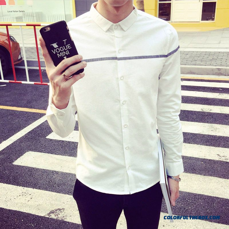 Special Offer Autumn New Solid Color Knit Men Shirt Long Sleeve Handsome Slim