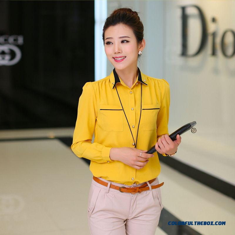 Special Offer Autumn New Women Long-sleeved Chiffon Shirt Large Size
