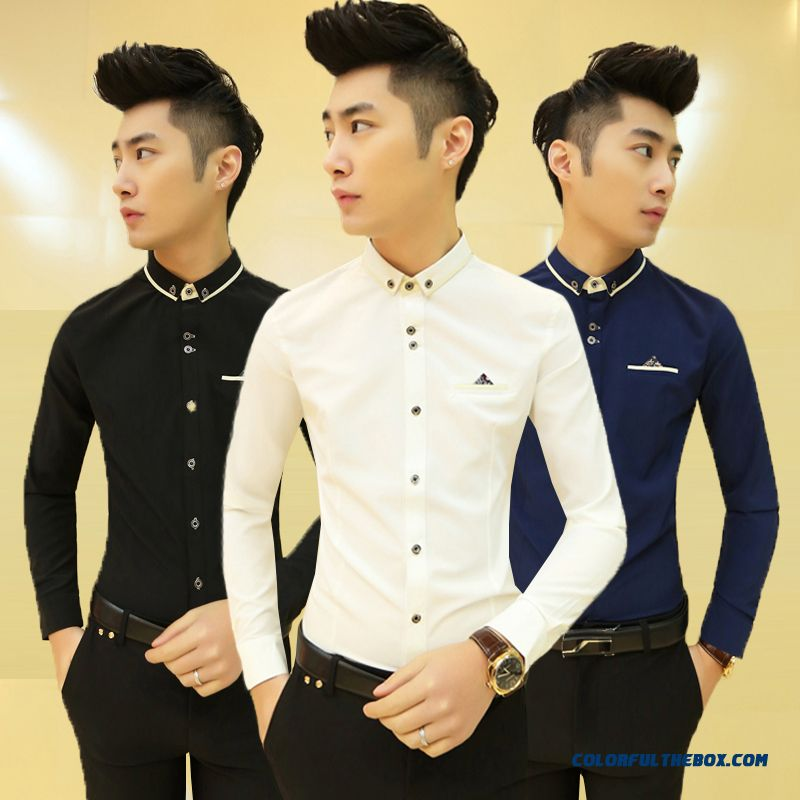 Special Offer Autumn Young Men Slim Long-sleeved Shirt Casual Shirt Solid Color - more images 1