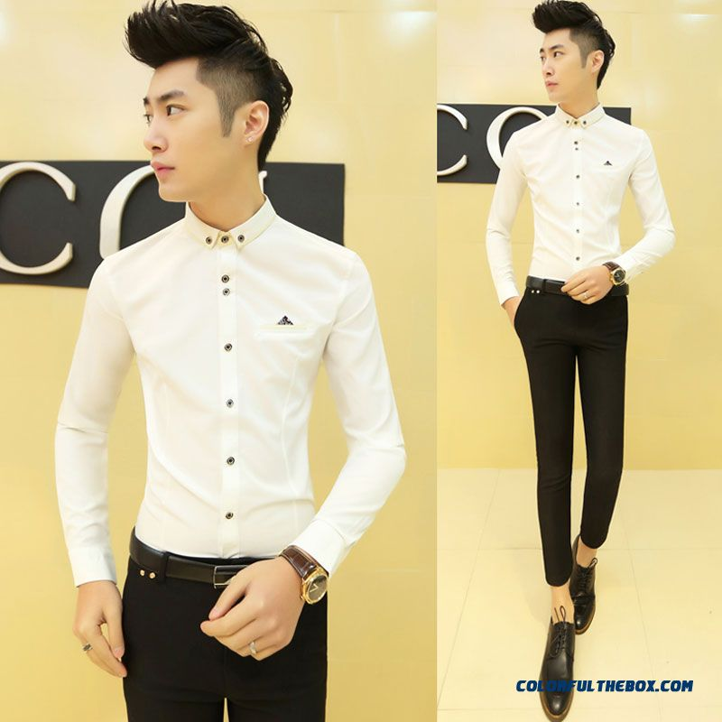 Special Offer Autumn Young Men Slim Long-sleeved Shirt Casual Shirt Solid Color - more images 2