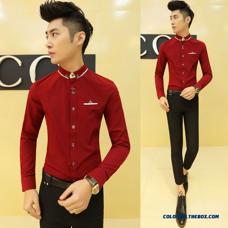 Special Offer Autumn Young Men Slim Long-sleeved Shirt Casual Shirt Solid Color - more images 3