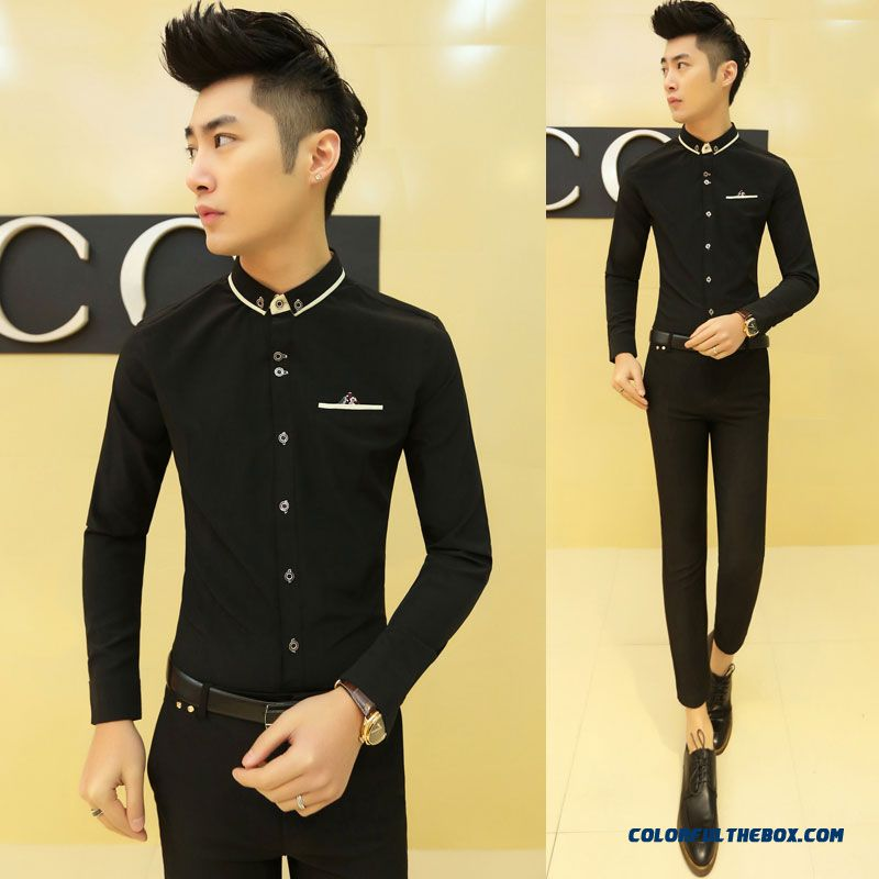 Special Offer Autumn Young Men Slim Long-sleeved Shirt Casual Shirt Solid Color - more images 4