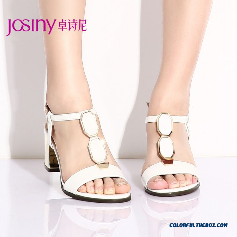Special Offer Elegant Rough Heel High-heeled Open-toed Sandals Women