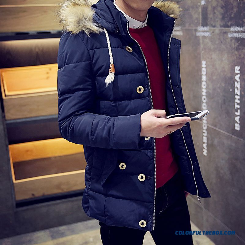 Special Offer Free Shipping Autumn Winter Men Fuo Collar Thicken Blue Coats