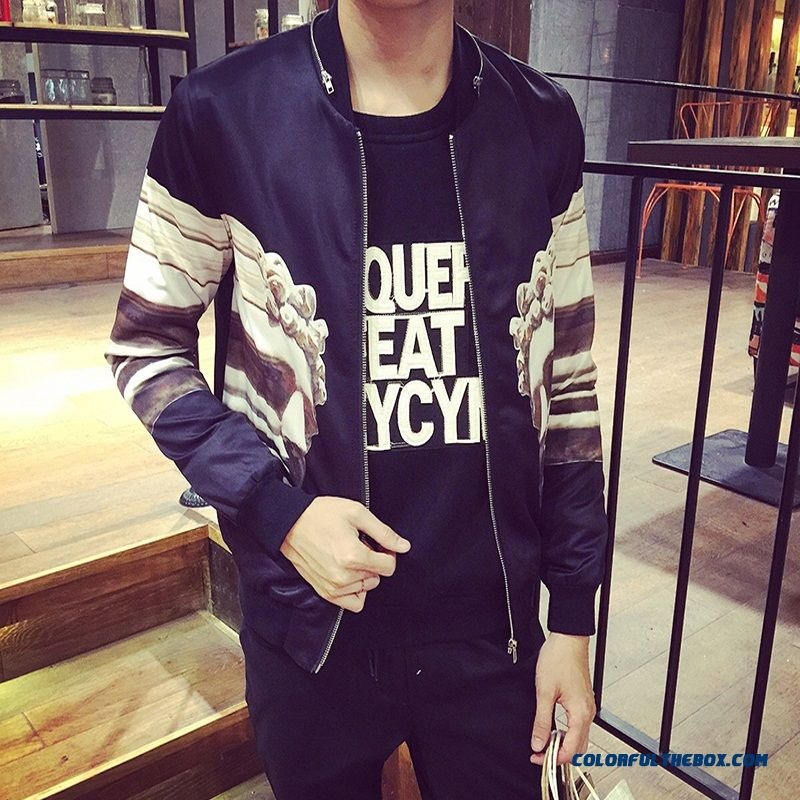 Special Offer Free Shipping Autumn Winter Men Printed Collar Jacket Fat Xl