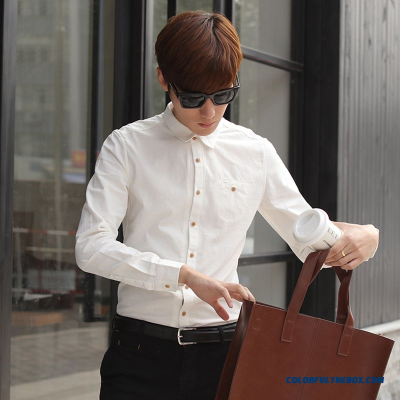 Special Offer Free Shipping Men Slim Cotton Casual White Shirt Long Sleeve