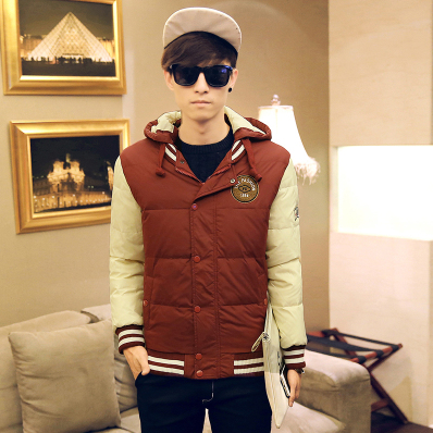 Special Offer Free Shipping Winter New Men's Hooded Down Jacket Stitching Casual Short